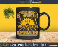 Education Is Important But Woodworking Funny Carpenter Svg