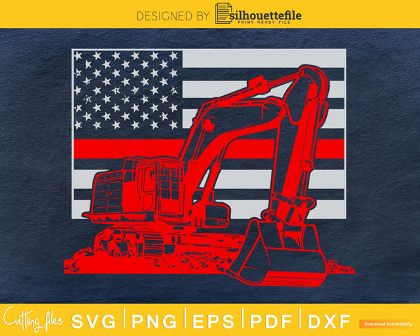 Excavator 4th of July Patriotic Distressed USA flag svg