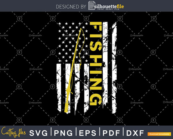 Download Fishing Rod Reel American Flag Svg Cut Instant Download Silhouette File Silhouettefile