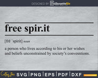 Free Spirit definition svg printable file