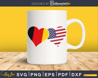 Germany USA Flag Heart German Americans Love Cute svg png