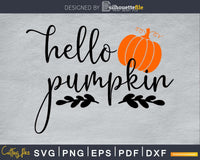 Hello pumpkin Halloween silhouette svg craft cut files