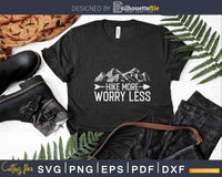 Hike More Worry Less Funny Hiking Svg Cut Files