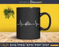Hiking Mountains Heartbeat Hiker Adventures Svg Cut Files