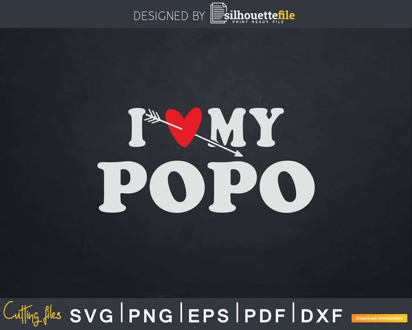I Love My Popo with Heart Fathers day Svg T-shirt Design