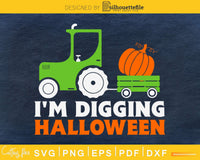 I'm Digging Halloween Pumpkin Face Tractor silhouette svg