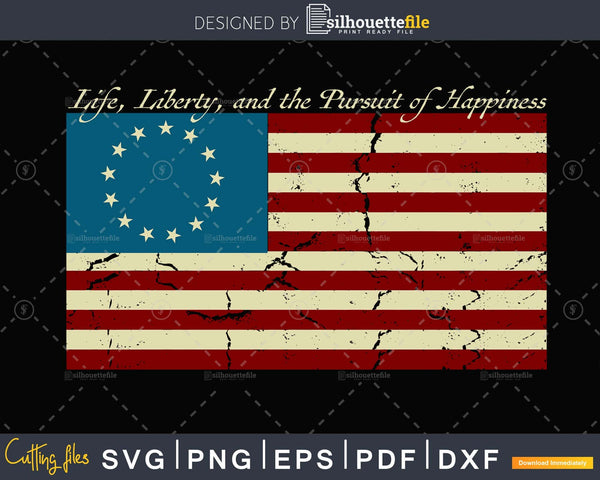 Life Liberty and the Pursuit of Happiness USA Flag svg cut