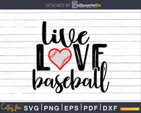 Live Love Baseball Svg Cricut Instant Download Silhouette Cut Files Silhouettefile