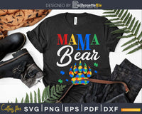 Mama Bear Puzzle Piece Autistic Child Svg Dxf Png Files