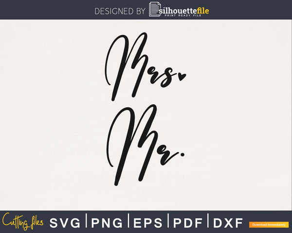 Mr and Mrs wedding heart PNG SVG files