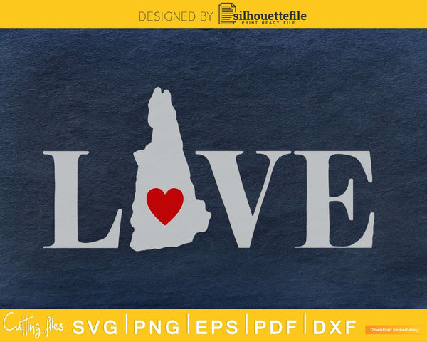 New Hampshire NH Love Home Heart Native Map svg png cricut