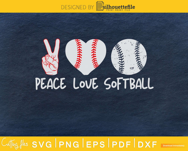 Peace Love Softball svg png cricut cutting digital files