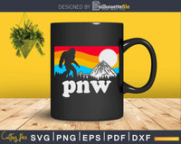 PNW Pacific Northwest Bigfoot Mountains Retro 80s Graphic