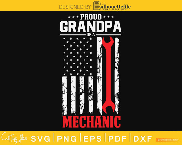 Proud Grandpa of a Mechanic Support Red Line Flag svg cut