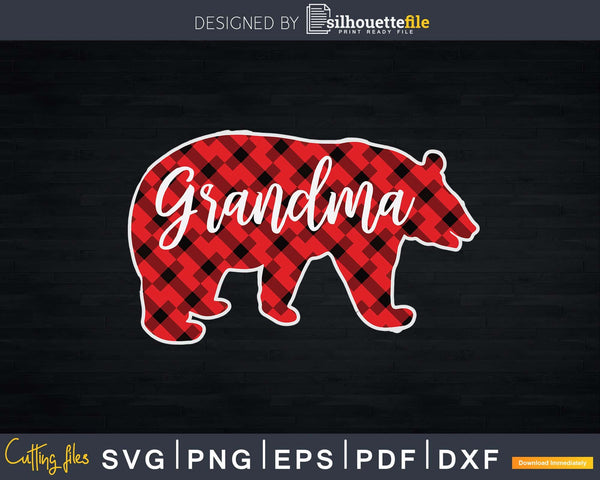 Red Plaid Grandma Bear Family Matching Buffalo Pajama Svg