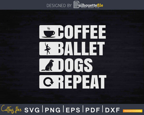 Retro Ballet Coffee Dogs Dancing Svg Cricut Cutting Files