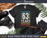 Retro Vintage 63 Years Old Classic 63rd Birthday 756 Months
