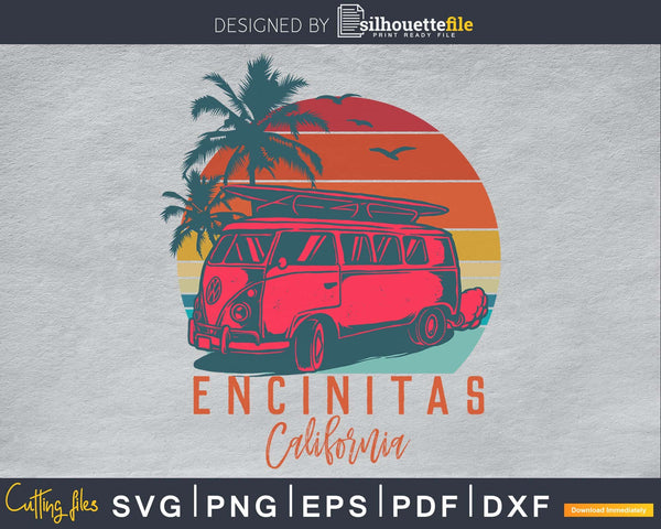 Retro vintage Encinitas California Cocoa Beach Palm Tree svg