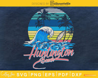 Retro vintage Huntington Beach Sunset Surfing svg craft cut