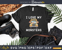 School Teacher Bus Driver I Love My Monsters Svg Design Cut