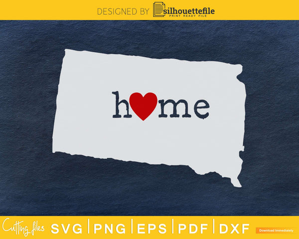 South Dakota SD Home Heart Native Map svg cricut cut digital