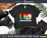 State of Montana Retro Bigfoot Mountains Svg Shirt Designs
