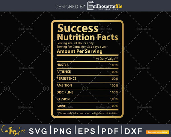 Success Nutritional Facts Label Svg Png Eps Dxf Funny Quote