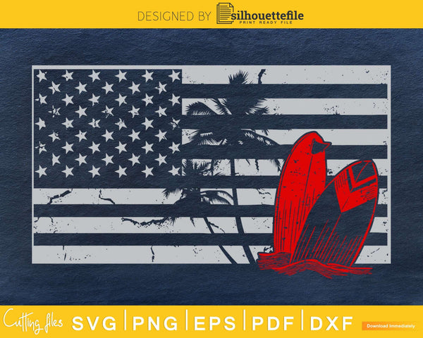 Sunset Surfing 4th of July Patriotic Distressed American
