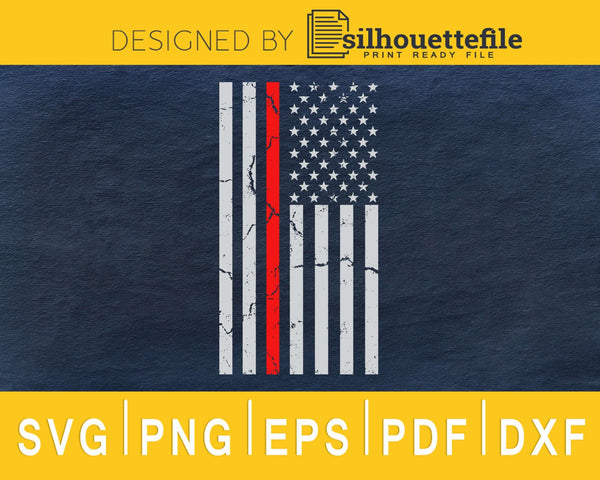 Thin Red line US Flag Distressed 4th of July svg cricut