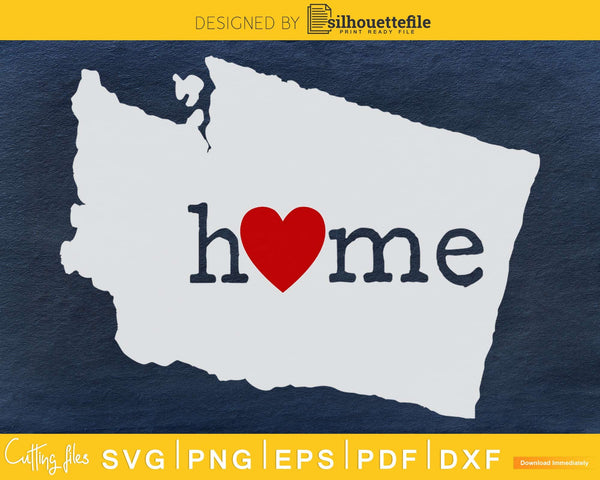 Washington WA Home Heart Native Map svg cricut cut digital