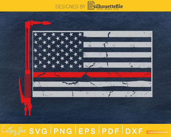 Welder 4th of July Patriotic Thin red line American flag svg