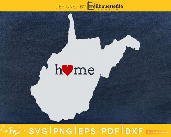 West Virginia WV Home Heart Native Map svg dxf png cut