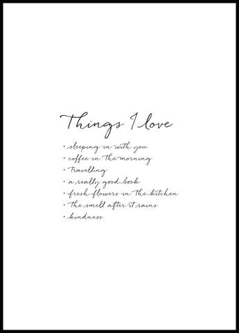 Things I Love Poster