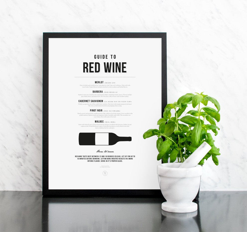 Poster Red Wine Guide Tavla
