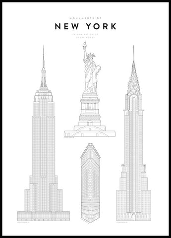 Monuments of New York Poster