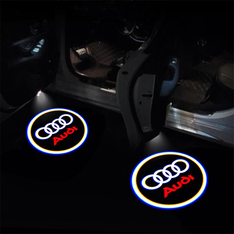 Wireless Adhesive Cool Car LED Underglow Light with Bright Projection Pack of 2PCS with Extra Logo Pattern Films AGATTI Car Door Projector Light Kit Compatible with AUDI Universal Models