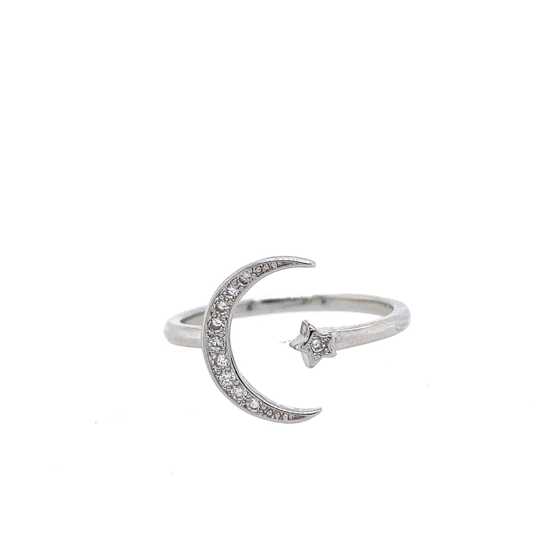 Adjustable Moon and Star ring  Stone: Cubic Zirconia  .925 Sterling silver trendy