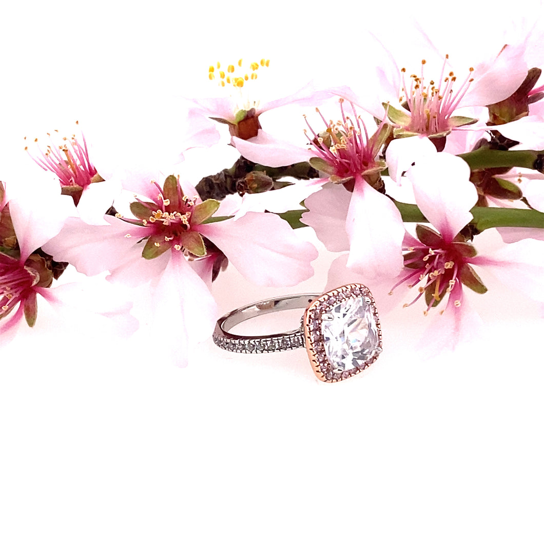 Two Tone Rose Gold Plated Cushion Cut Clear & Pink CZ Ring