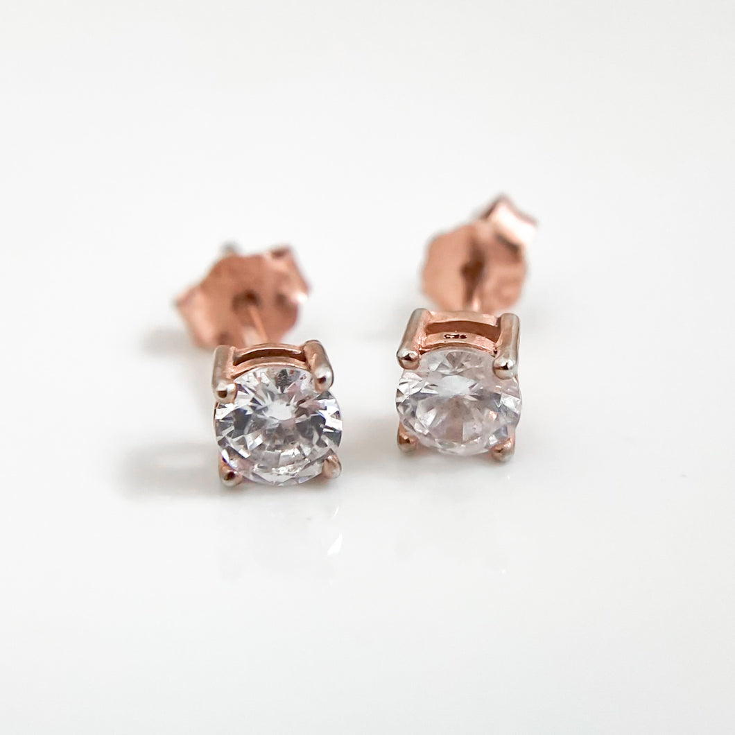 Rose Gold Plated Round Stud Earrings Push Back