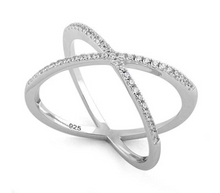 Load image into Gallery viewer, Sterling Silver Overlapping X CZ Ring