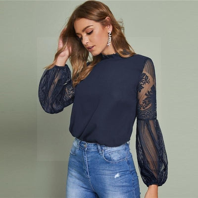 blouse brodee bleue