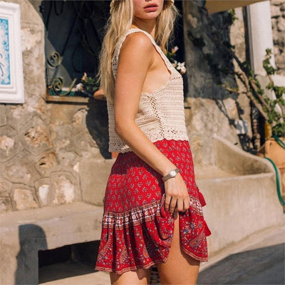 jupe courte hippie rouge