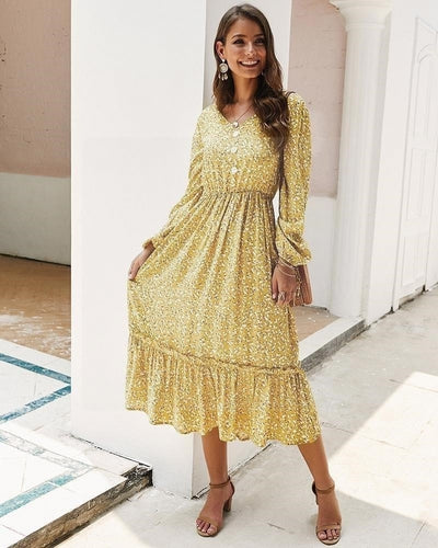 robe hippie chic jaune