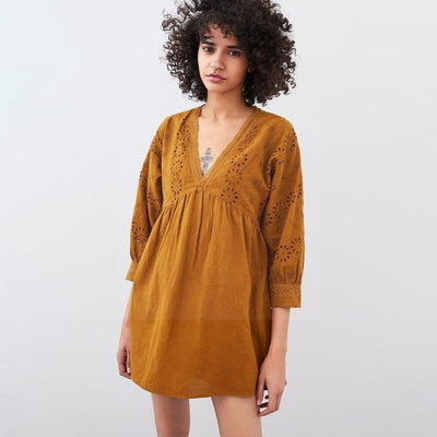 robe hippie marron