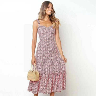 robe longue hippie chic rose poudre