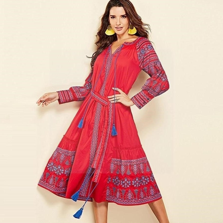 robe longue hippie chic rouge