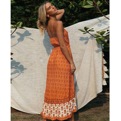 robe longue hippie orange