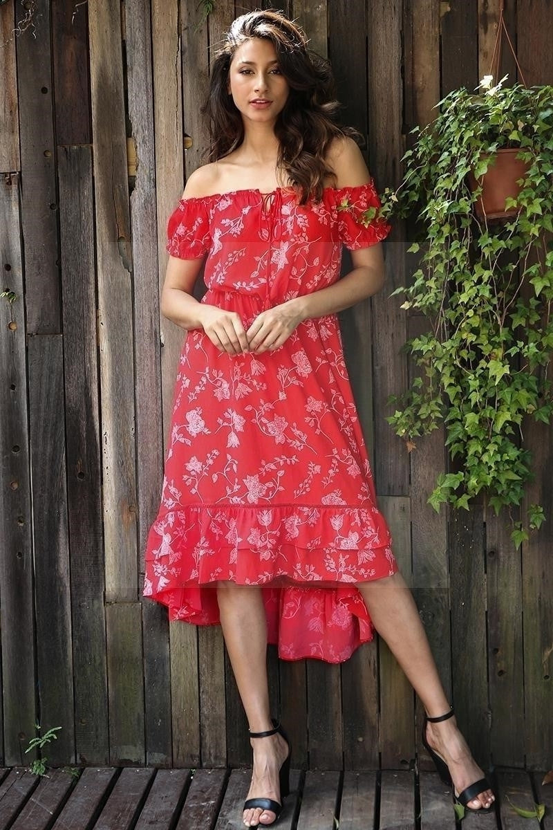robe longue fleurie hippie rouge