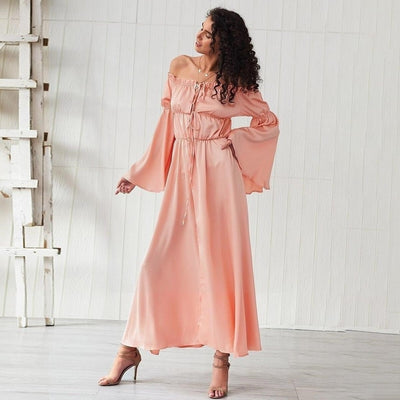 robe longue style hippie rose