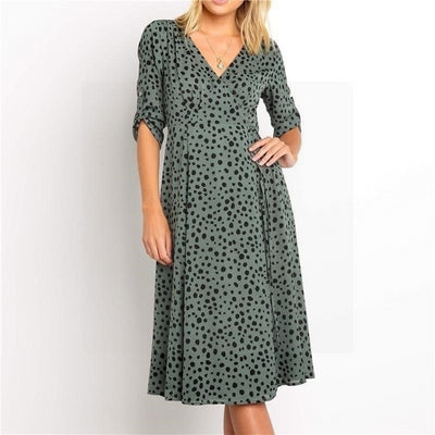 leopard print casual dresses for women 2020 autumn half sleeve fashion tunic sashes dress vintage v neck sexy midi dresses robe